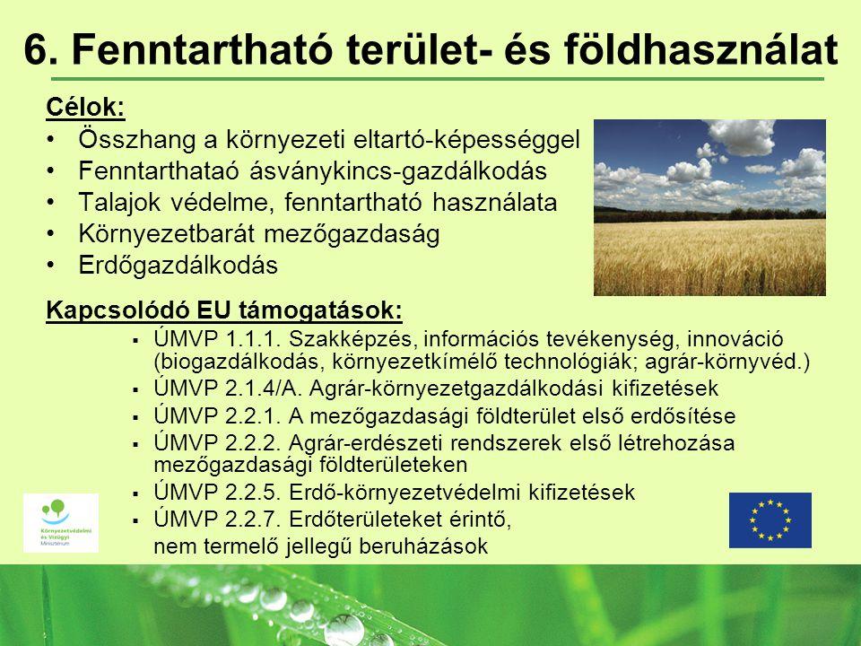 6. Fenntartható terület- és földhasználat Célok: Összhang a környezeti eltartó-képességgel Fenntarthataó ásványkincs-gazdálkodás Talajok védelme, fenn
