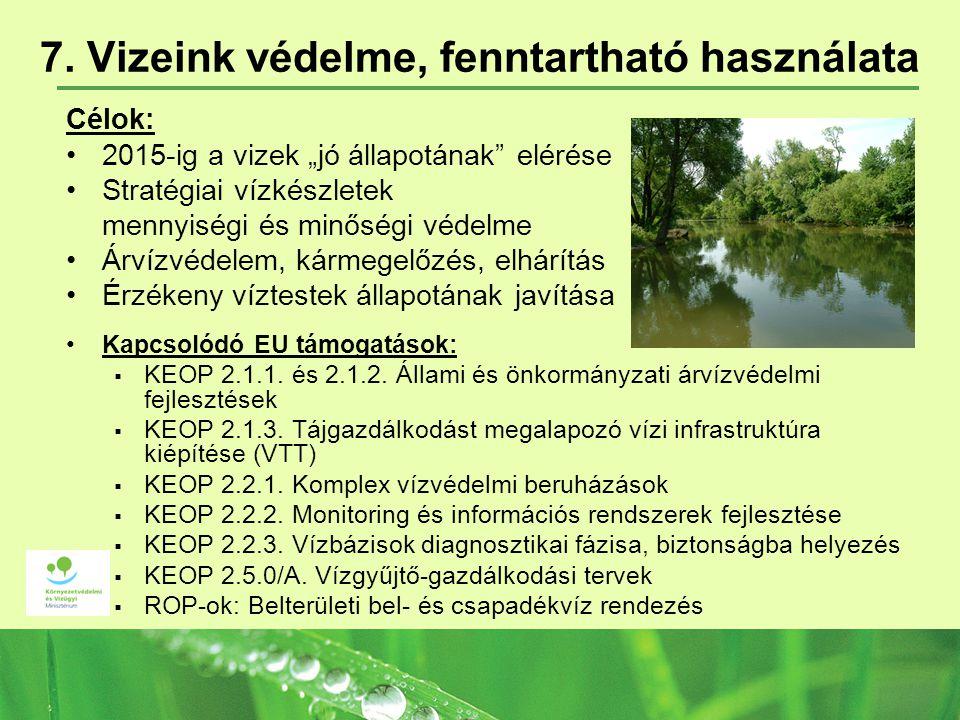 """7. Vizeink védelme, fenntartható használata Célok: 2015-ig a vizek """"jó állapotának"""" elérése Stratégiai vízkészletek mennyiségi és minőségi védelme Árv"""