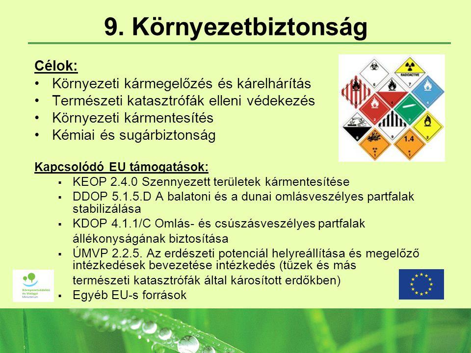 9. Környezetbiztonság Célok: Környezeti kármegelőzés és kárelhárítás Természeti katasztrófák elleni védekezés Környezeti kármentesítés Kémiai és sugár