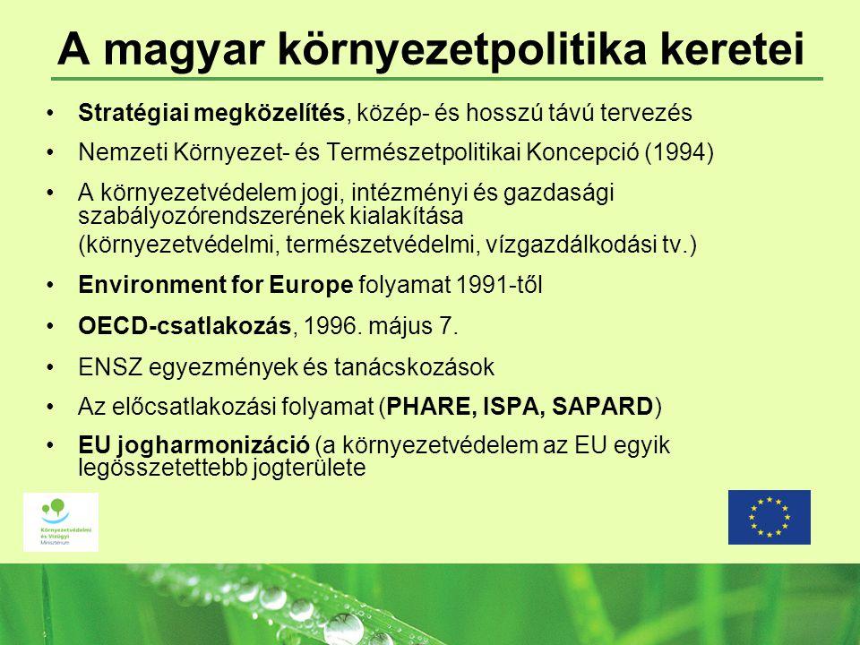 A magyar környezetpolitika keretei Stratégiai megközelítés, közép- és hosszú távú tervezés Nemzeti Környezet- és Természetpolitikai Koncepció (1994) A környezetvédelem jogi, intézményi és gazdasági szabályozórendszerének kialakítása (környezetvédelmi, természetvédelmi, vízgazdálkodási tv.) Environment for Europe folyamat 1991-től OECD-csatlakozás, 1996.