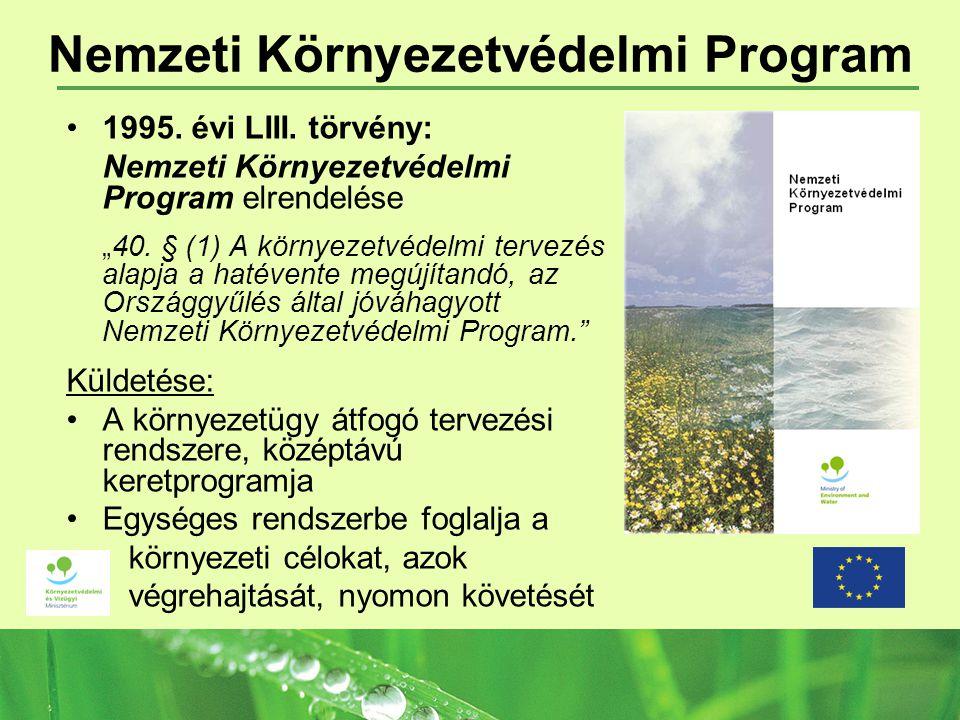 """Nemzeti Környezetvédelmi Program 1995. évi LIII. törvény: Nemzeti Környezetvédelmi Program elrendelése """"40. § (1) A környezetvédelmi tervezés alapja a"""