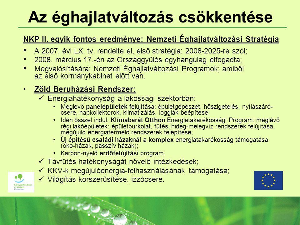 Az éghajlatváltozás csökkentése NKP II. egyik fontos eredménye: Nemzeti Éghajlatváltozási Stratégia A 2007. évi LX. tv. rendelte el, első stratégia: 2