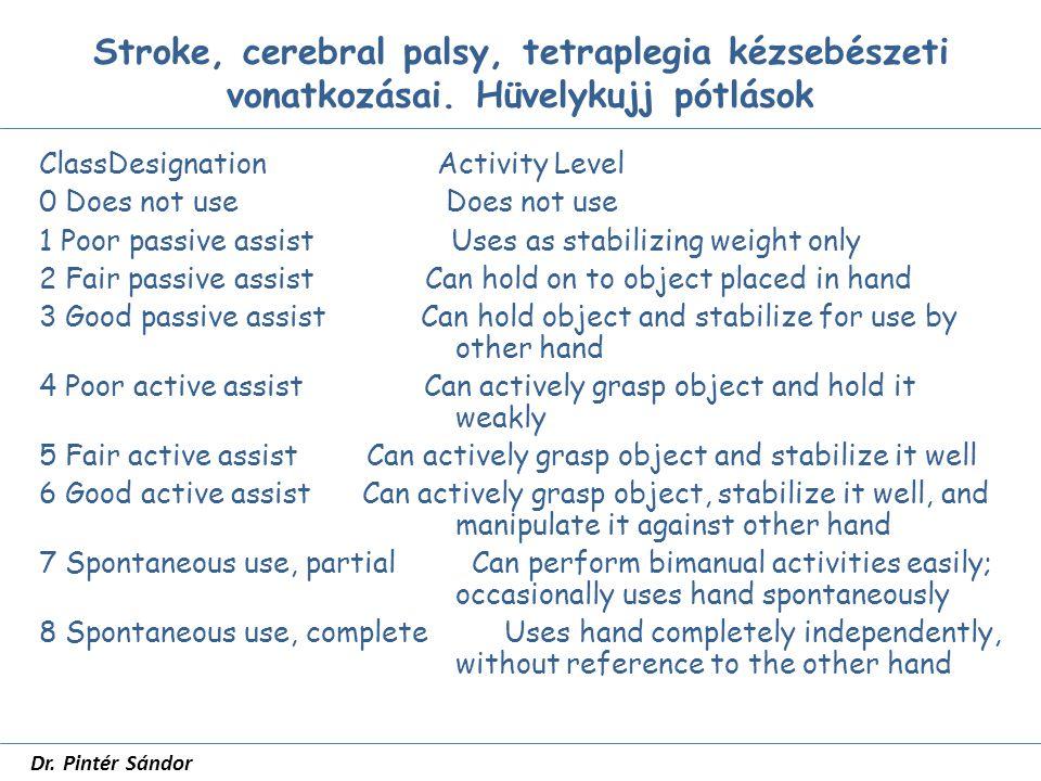 Stroke, cerebral palsy, tetraplegia kézsebészeti vonatkozásai.