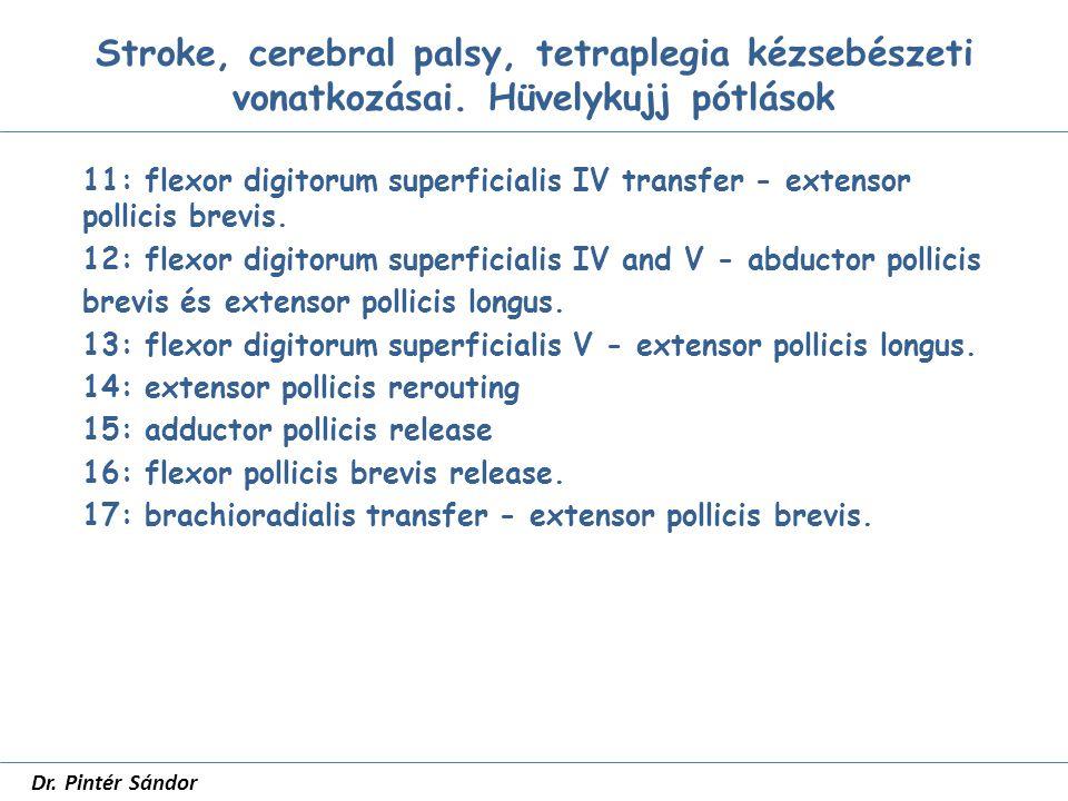 Hüvelykujj pótlások SZTE Traumatológia dr Pintér Sándor Phalangisatio Z plasztika Az adductor és I.