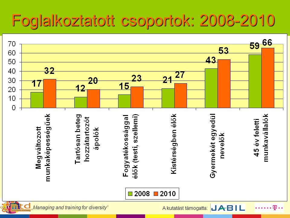 """A kutatást támogatta: """"Managing and training for diversity"""" Foglalkoztatott csoportok: 2008-2010"""