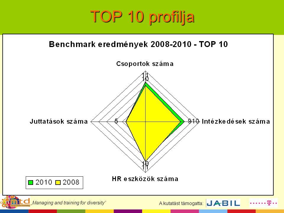 "A kutatást támogatta: ""Managing and training for diversity TOP 10 profilja"