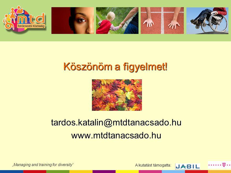 """A kutatást támogatta: """"Managing and training for diversity"""" Köszönöm a figyelmet! tardos.katalin@mtdtanacsado.huwww.mtdtanacsado.hu"""