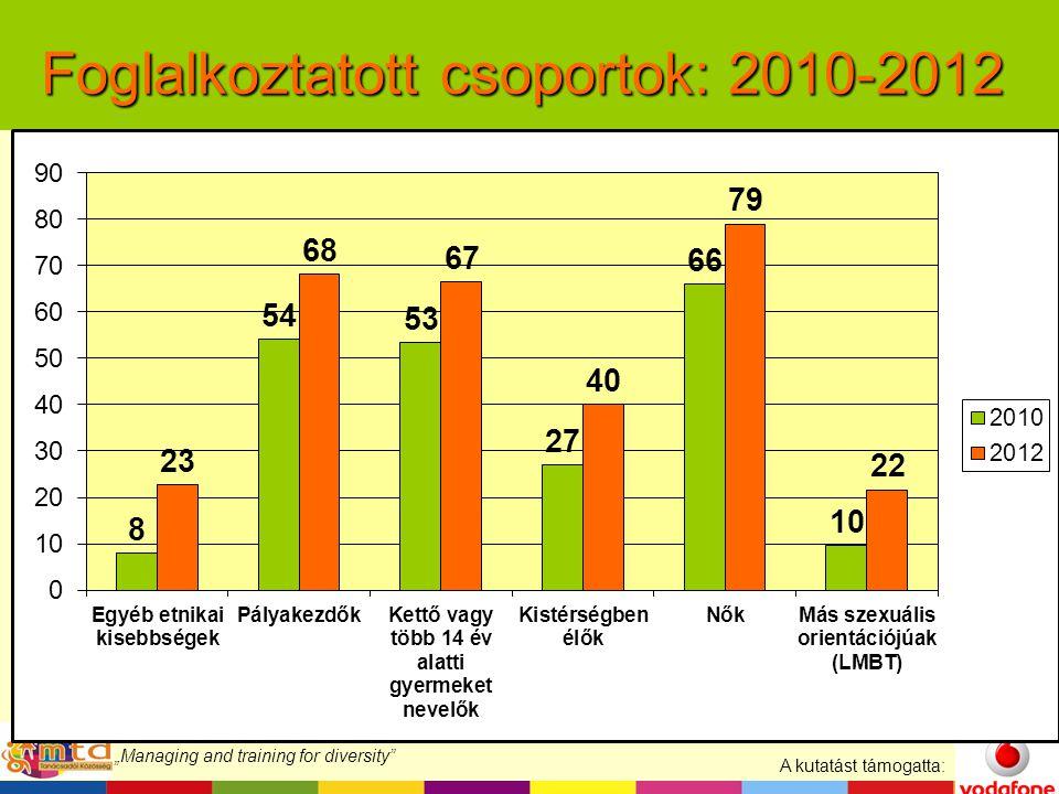 """A kutatást támogatta: """"Managing and training for diversity Foglalkoztatott csoportok: 2010-2012"""
