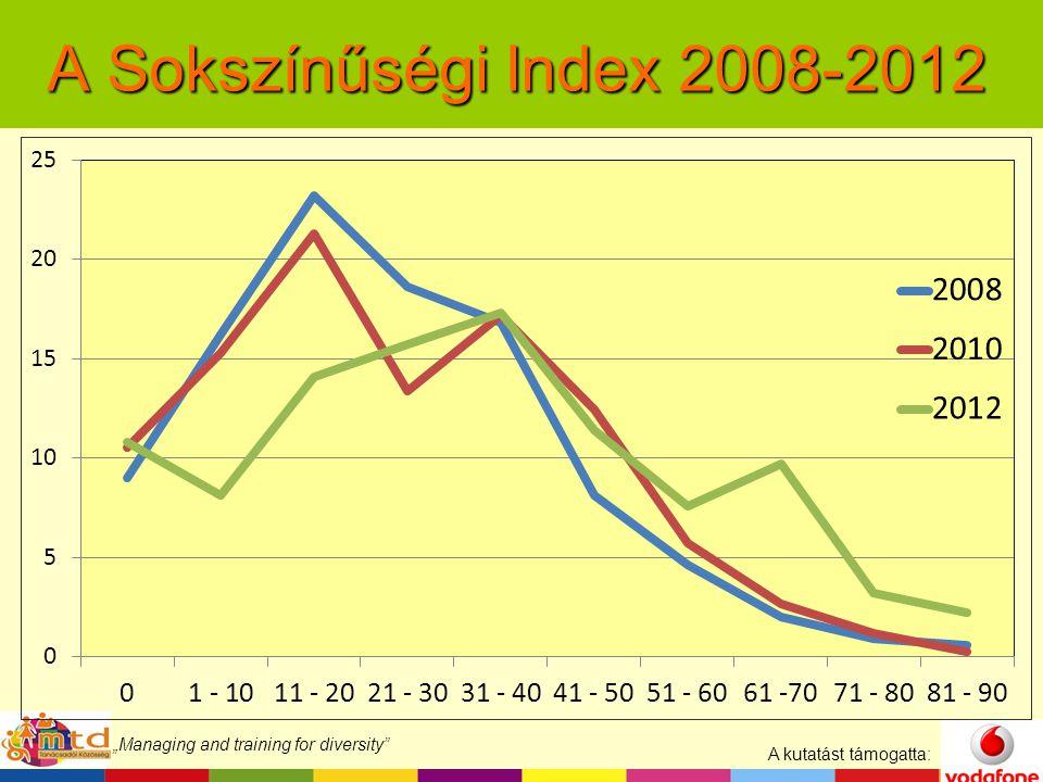 """A kutatást támogatta: """"Managing and training for diversity A Sokszínűségi Index 2008-2012"""