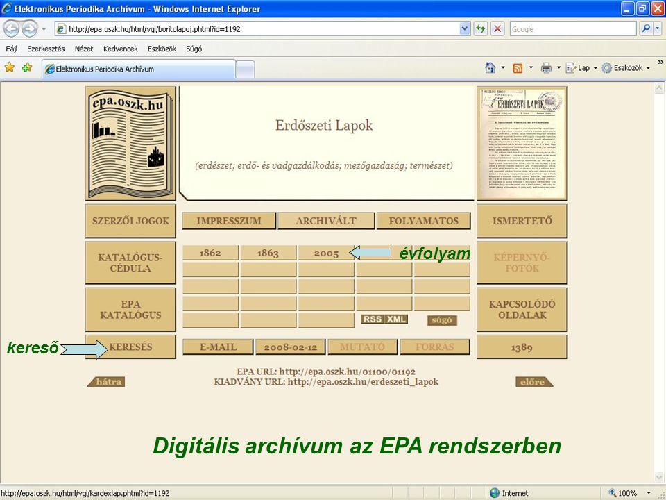 Digitális archívum az EPA rendszerben évfolyam kereső