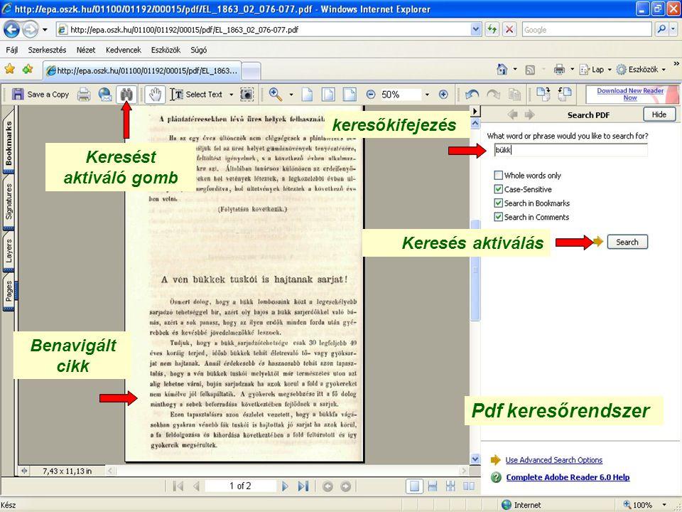 Pdf keresőrendszer Keresést aktiváló gomb Benavigált cikk keresőkifejezés Keresés aktiválás