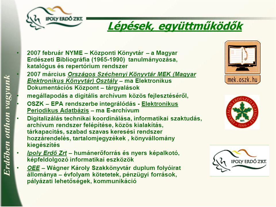 Lépések, együttműködők 2007 február NYME – Központi Könyvtár – a Magyar Erdészeti Bibliográfia (1965-1990) tanulmányozása, katalógus és repertórium re