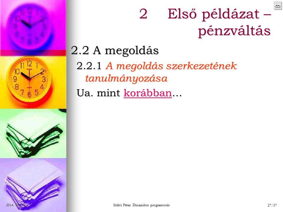  2014. 08. 20.2014. 08. 20.2014. 08. 20. Szlávi Péter: Dinamikus programozás 27/57 2.2 A megoldás 2.2.1 A megoldás szerkezetének tanulmányozása Ua