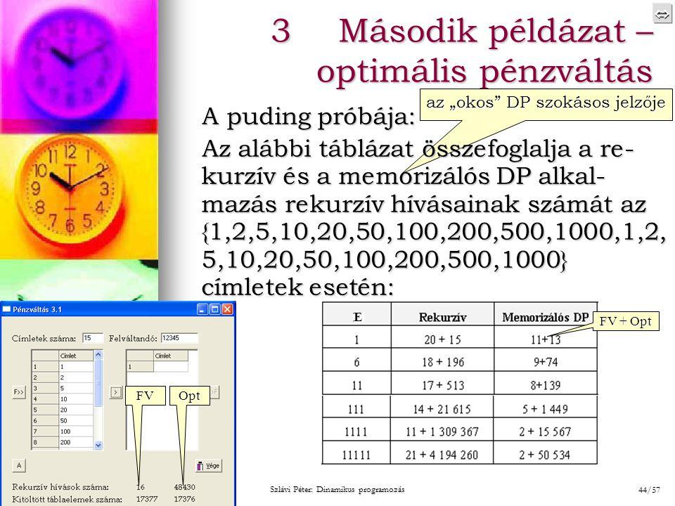 """ 2014. 08. 20.2014. 08. 20.2014. 08. 20. Szlávi Péter: Dinamikus programozás 44/57 3Második példázat – optimális pénzváltás az """"okos"""" DP szokásos"""