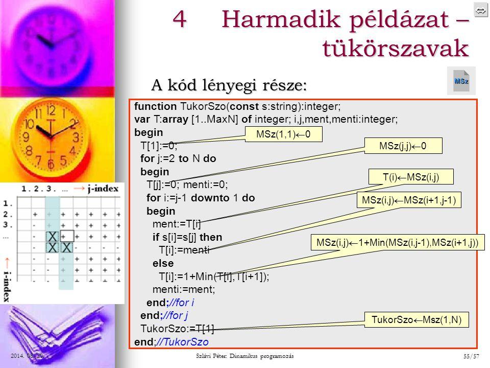  2014. 08. 20.2014. 08. 20.2014. 08. 20. Szlávi Péter: Dinamikus programozás 55/57 4Harmadik példázat – tükörszavak A kód lényegi része: function