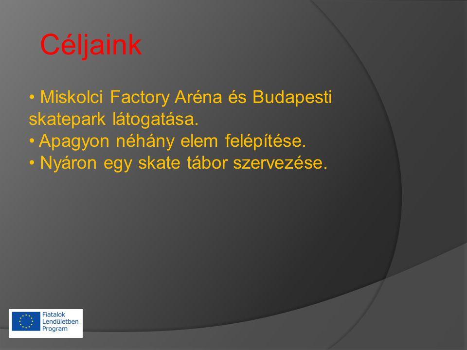 Céljaink Miskolci Factory Aréna és Budapesti skatepark látogatása.