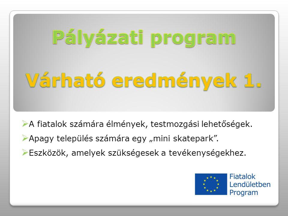 """ A fiatalok számára élmények, testmozgási lehetőségek.  Apagy település számára egy """"mini skatepark"""".  Eszközök, amelyek szükségesek a tevékenysége"""