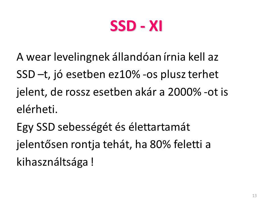 13 SSD - XI A wear levelingnek állandóan írnia kell az SSD –t, jó esetben ez10% -os plusz terhet jelent, de rossz esetben akár a 2000% -ot is elérheti
