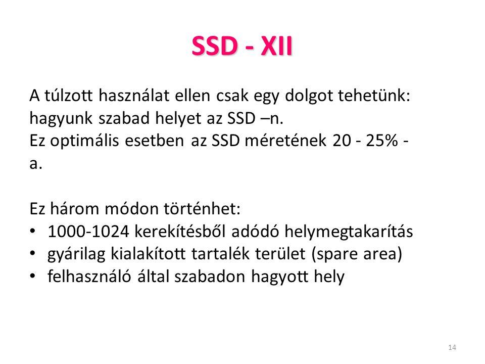 14 SSD - XII A túlzott használat ellen csak egy dolgot tehetünk: hagyunk szabad helyet az SSD –n. Ez optimális esetben az SSD méretének 20 - 25% - a.