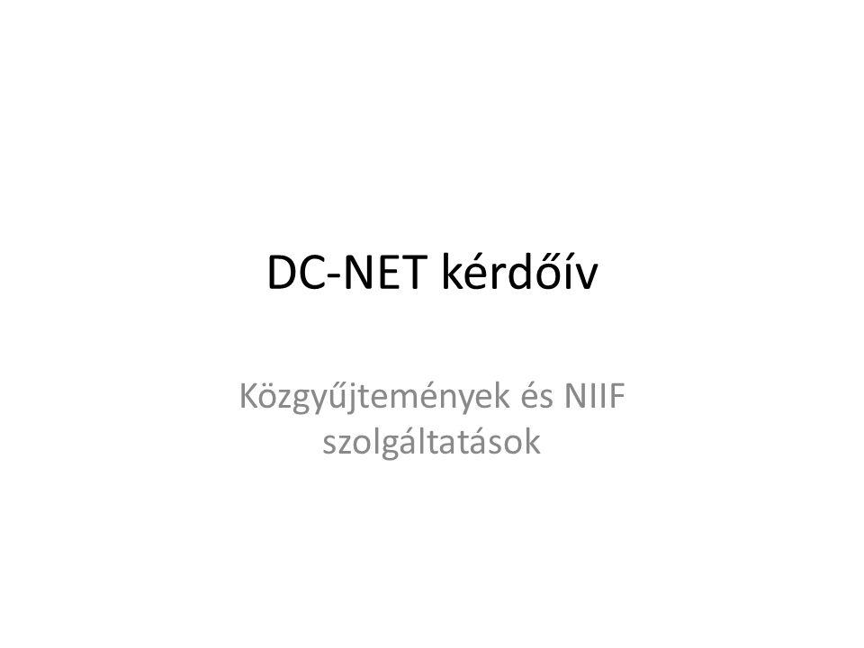 Összefoglalva minden válaszadó intézmény használja a NIIF valamilyen szolgáltatását nagyon sok intézmény nem ismeri a NIIF szolgáltatásainak teljes skáláját a többség 1997 óta használja a NIIF e-Infrastruktúra szolgáltatásait 90 %-uk elégedett a szolgáltatásokkal és szolgáltatásválasztékának fejlődésével az éves költségvetésük 0,5 %-át fordítják NIIF e-Infrastruktúra szolgáltatásra, átlag 1,2 mFt-ot a digitalizálási kiadásuk a teljes büdzsé 1-2 %-át teszi ki az intézmények fele teszi online elérhetővé digitalizált objektumait.