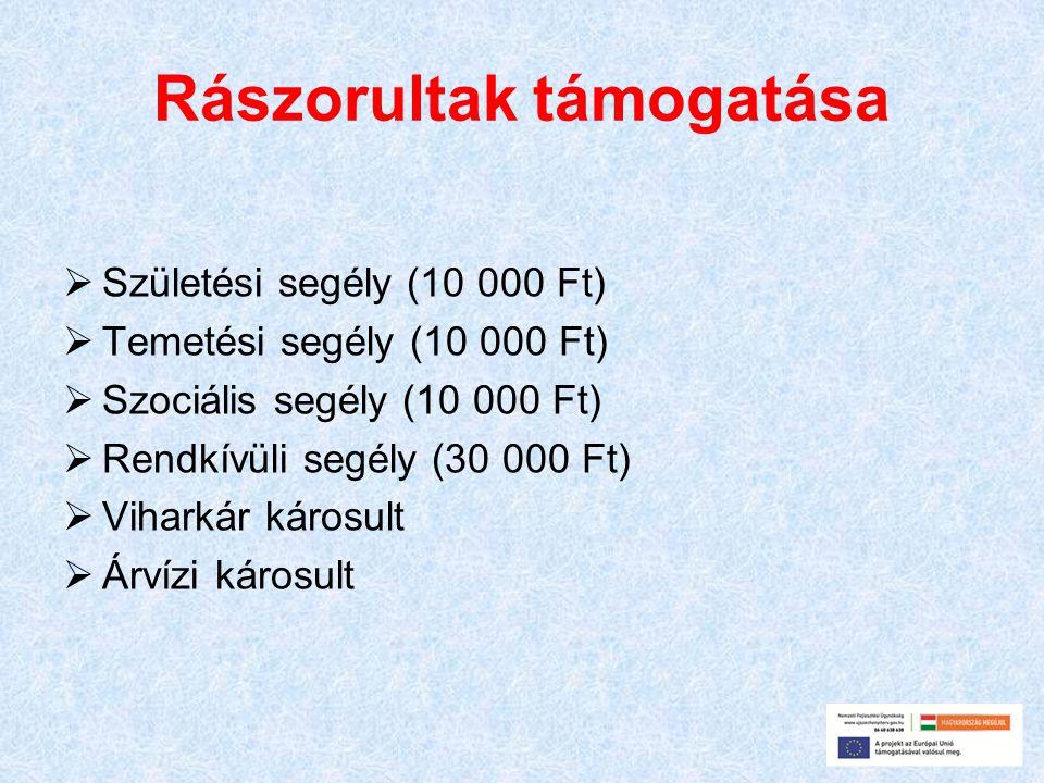 Rászorultak támogatása  Születési segély (10 000 Ft)  Temetési segély (10 000 Ft)  Szociális segély (10 000 Ft)  Rendkívüli segély (30 000 Ft)  V