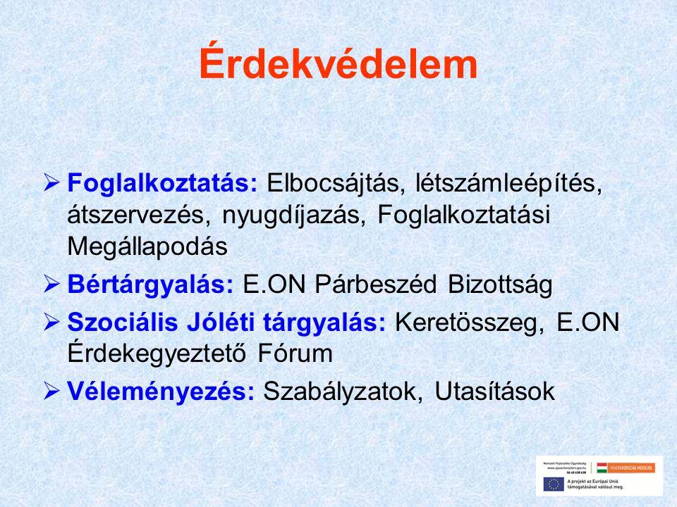 Érdekvédelem  Foglalkoztatás: Elbocsájtás, létszámleépítés, átszervezés, nyugdíjazás, Foglalkoztatási Megállapodás  Bértárgyalás: E.ON Párbeszéd Biz