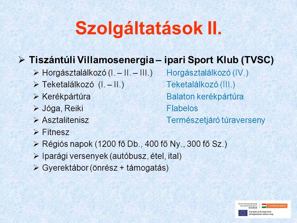 Szolgáltatások II.  Tiszántúli Villamosenergia – ipari Sport Klub (TVSC)  Horgásztalálkozó (I. – II. – III.) Horgásztalálkozó (IV.)  Teketalálkozó