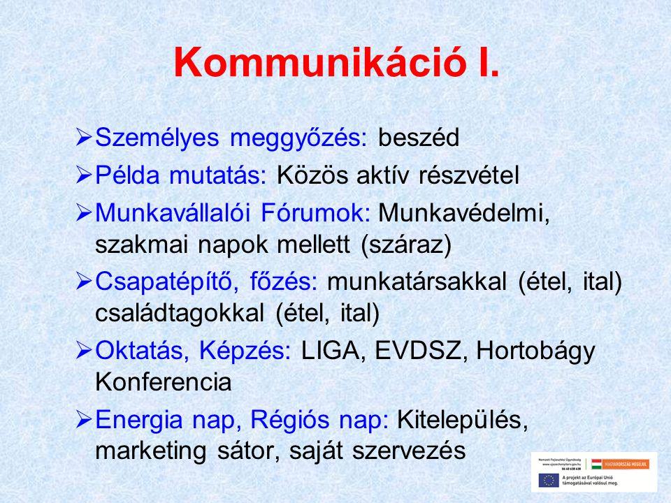 Kommunikáció I.  Személyes meggyőzés: beszéd  Példa mutatás: Közös aktív részvétel  Munkavállalói Fórumok: Munkavédelmi, szakmai napok mellett (szá
