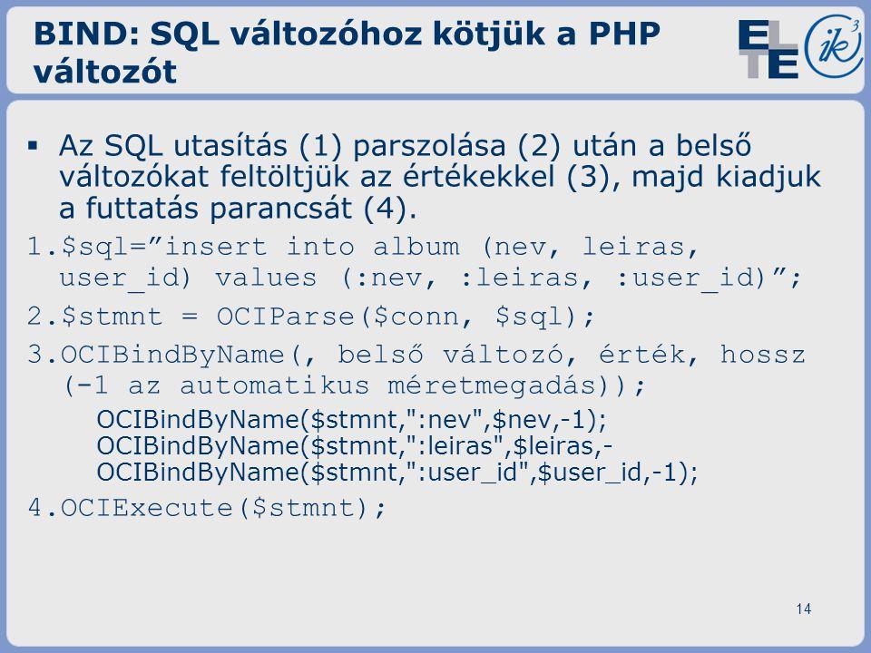 14 BIND: SQL változóhoz kötjük a PHP változót  Az SQL utasítás (1) parszolása (2) után a belső változókat feltöltjük az értékekkel (3), majd kiadjuk a futtatás parancsát (4).