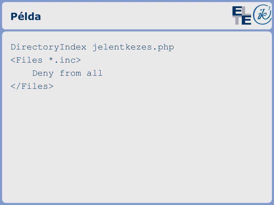Példa DirectoryIndex jelentkezes.php Deny from all