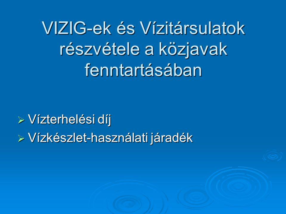 VIZIG-ek és Vízitársulatok részvétele a közjavak fenntartásában  Vízterhelési díj  Vízkészlet-használati járadék