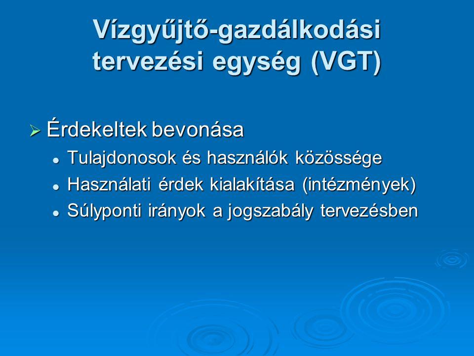  Érdekeltek bevonása Tulajdonosok és használók közössége Tulajdonosok és használók közössége Használati érdek kialakítása (intézmények) Használati érdek kialakítása (intézmények) Súlyponti irányok a jogszabály tervezésben Súlyponti irányok a jogszabály tervezésben Vízgyűjtő-gazdálkodási tervezési egység (VGT)