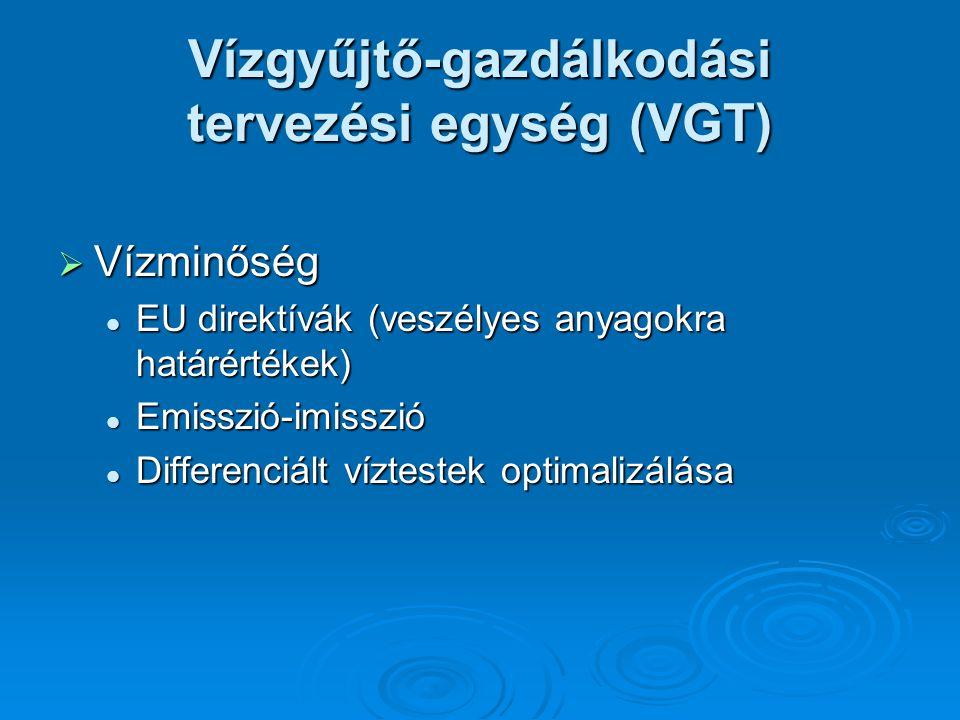  Vízminőség EU direktívák (veszélyes anyagokra határértékek) EU direktívák (veszélyes anyagokra határértékek) Emisszió-imisszió Emisszió-imisszió Differenciált víztestek optimalizálása Differenciált víztestek optimalizálása
