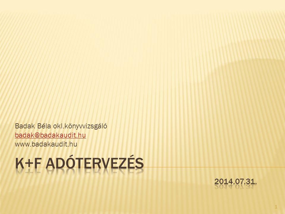 Badak Béla okl.könyvvizsgáló badak@badakaudit.hu www.badakaudit.hu 1