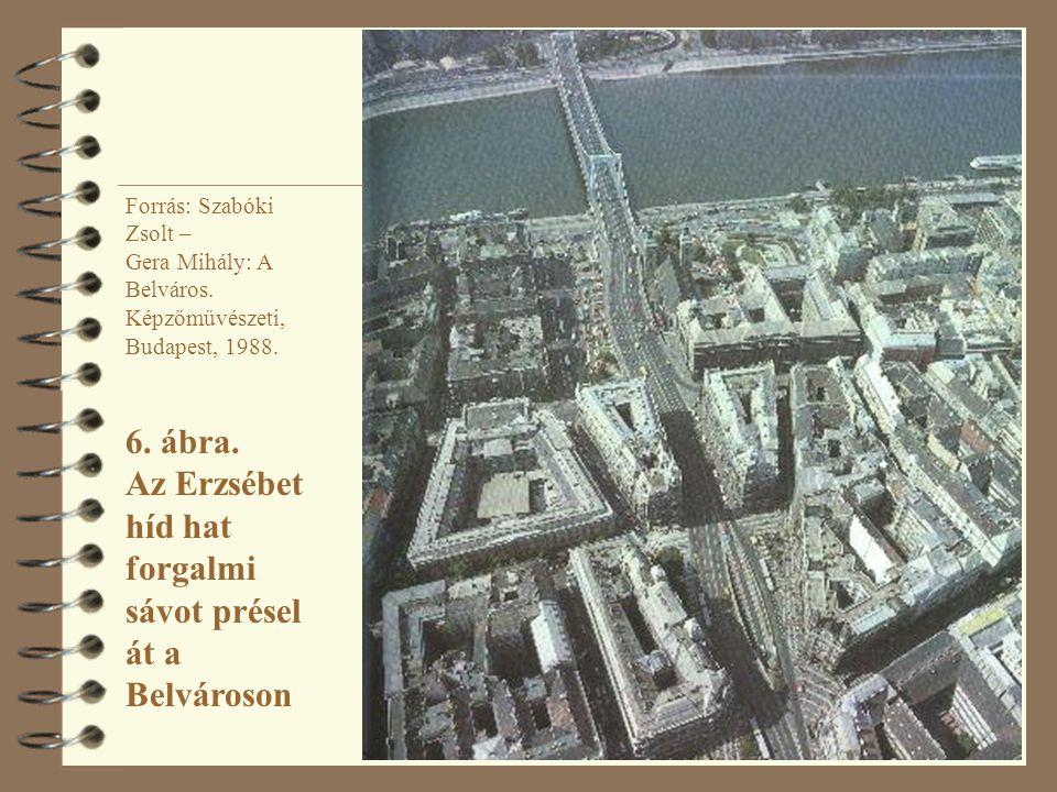 Forrás: Szabóki Zsolt – Gera Mihály: A Belváros. Képzőművészeti, Budapest, 1988. 6. ábra. Az Erzsébet híd hat forgalmi sávot présel át a Belvároson