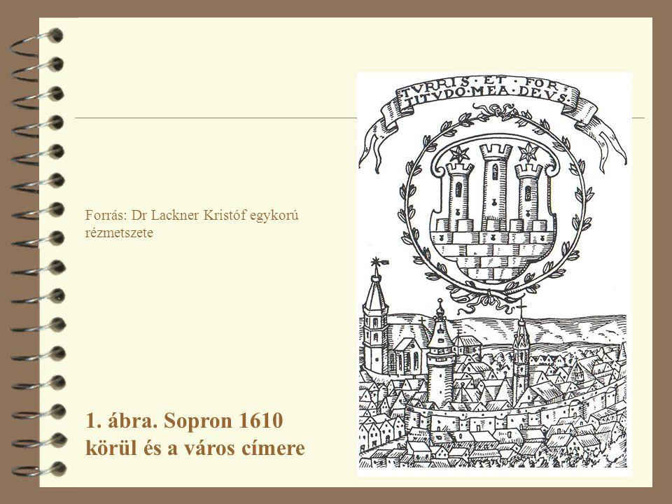Forrás: Dr Lackner Kristóf egykorú rézmetszete 1. ábra. Sopron 1610 körül és a város címere