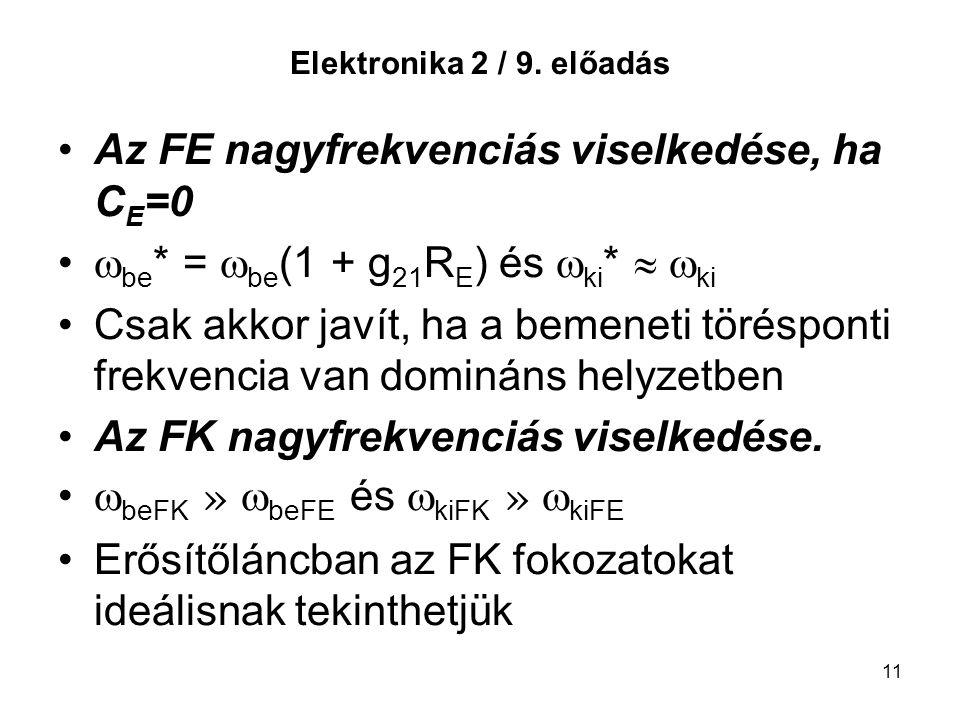 11 Elektronika 2 / 9. előadás Az FE nagyfrekvenciás viselkedése, ha C E =0  be * =  be (1 + g 21 R E ) és  ki *   ki Csak akkor javít, ha a bemen