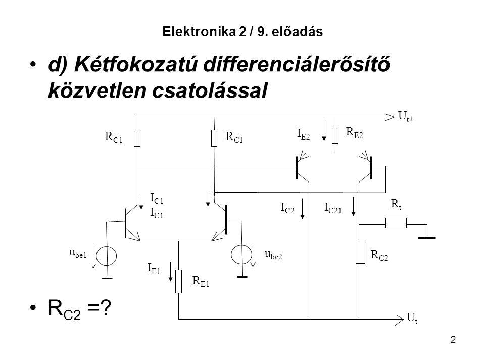 2 Elektronika 2 / 9. előadás d) Kétfokozatú differenciálerősítő közvetlen csatolással R C2 =? U t+ U t- u be2 u be1 R E1 R C1 R E2 R C2 RtRt I C1 I E1