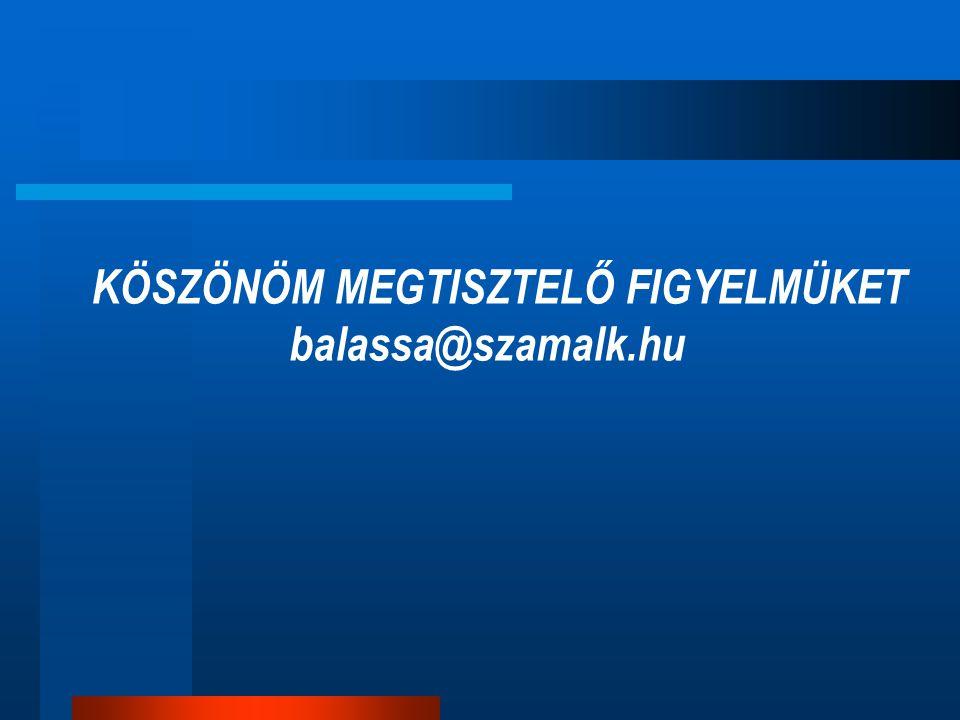 KÖSZÖNÖM MEGTISZTELŐ FIGYELMÜKET balassa@szamalk.hu