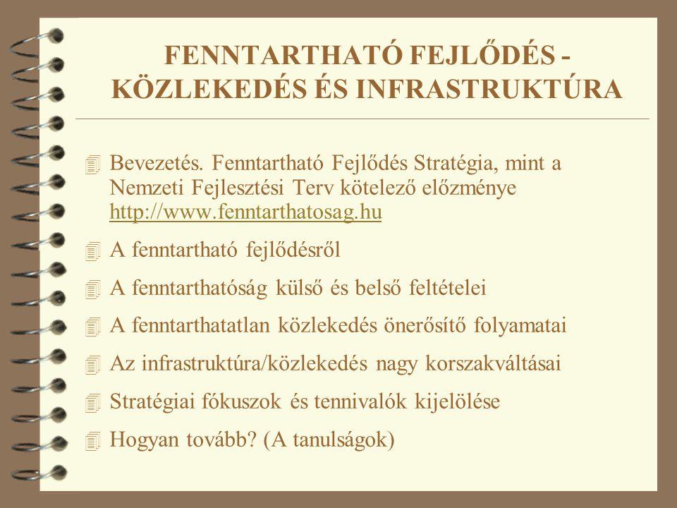 FENNTARTHATÓ FEJLŐDÉS - KÖZLEKEDÉS ÉS INFRASTRUKTÚRA 4 Bevezetés. Fenntartható Fejlődés Stratégia, mint a Nemzeti Fejlesztési Terv kötelező előzménye