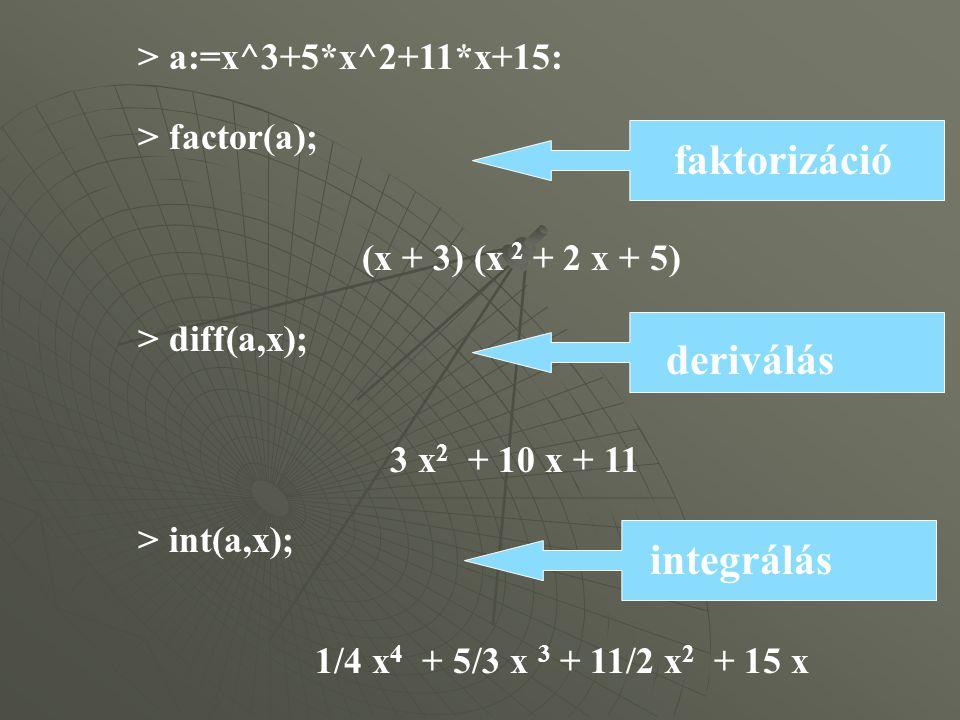 > a:=x^3+5*x^2+11*x+15: > factor(a); (x + 3) (x 2 + 2 x + 5) > diff(a,x); 3 x 2 + 10 x + 11 > int(a,x); 1/4 x 4 + 5/3 x 3 + 11/2 x 2 + 15 x faktorizáció deriválás integrálás