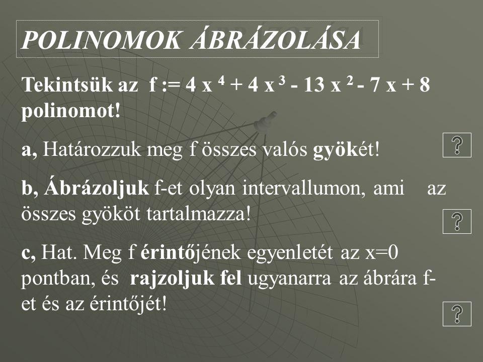 POLINOMOK ÁBRÁZOLÁSA Tekintsük az f := 4 x 4 + 4 x 3 - 13 x 2 - 7 x + 8 polinomot.