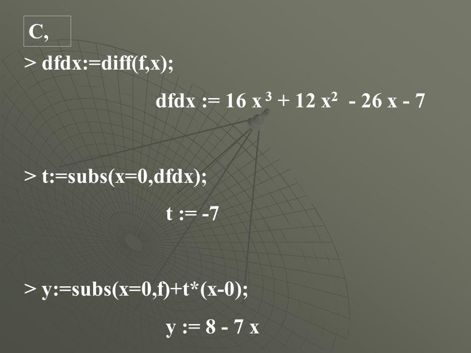 > dfdx:=diff(f,x); dfdx := 16 x 3 + 12 x 2 - 26 x - 7 > t:=subs(x=0,dfdx); t := -7 > y:=subs(x=0,f)+t*(x-0); y := 8 - 7 x C,