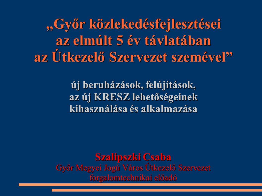 """""""Győr közlekedésfejlesztései az elmúlt 5 év távlatában az Útkezelő Szervezet szemével"""" új beruházások, felújítások, az új KRESZ lehetőségeinek kihaszn"""