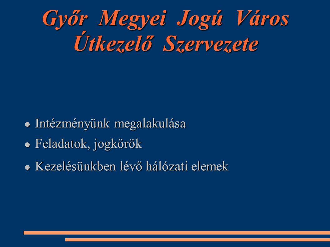 Győr Megyei Jogú Város Útkezelő Szervezete Intézményünk megalakulása Intézményünk megalakulása Feladatok, jogkörök Feladatok, jogkörök Kezelésünkben l