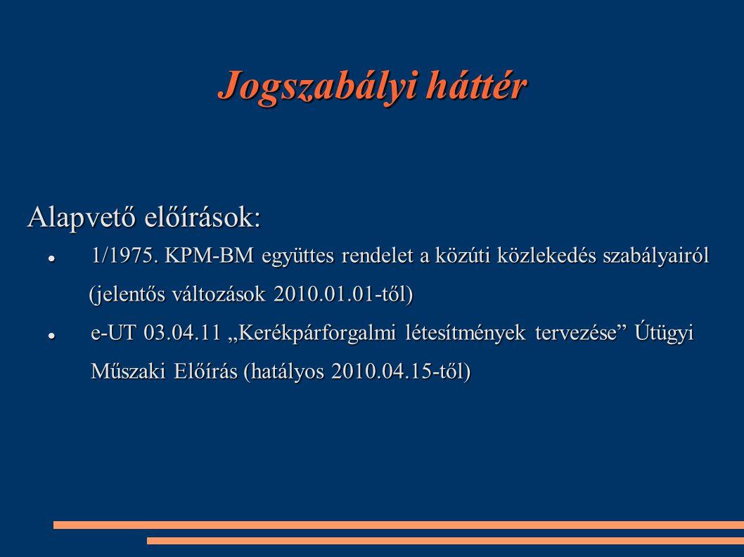 Jogszabályi háttér Alapvető előírások: 1/1975. KPM-BM együttes rendelet a közúti közlekedés szabályairól 1/1975. KPM-BM együttes rendelet a közúti köz