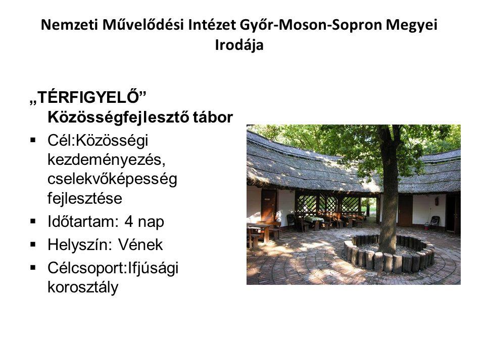 """Nemzeti Művelődési Intézet Győr-Moson-Sopron Megyei Irodája """"TÉRFIGYELŐ"""" Közösségfejlesztő tábor  Cél:Közösségi kezdeményezés, cselekvőképesség fejle"""