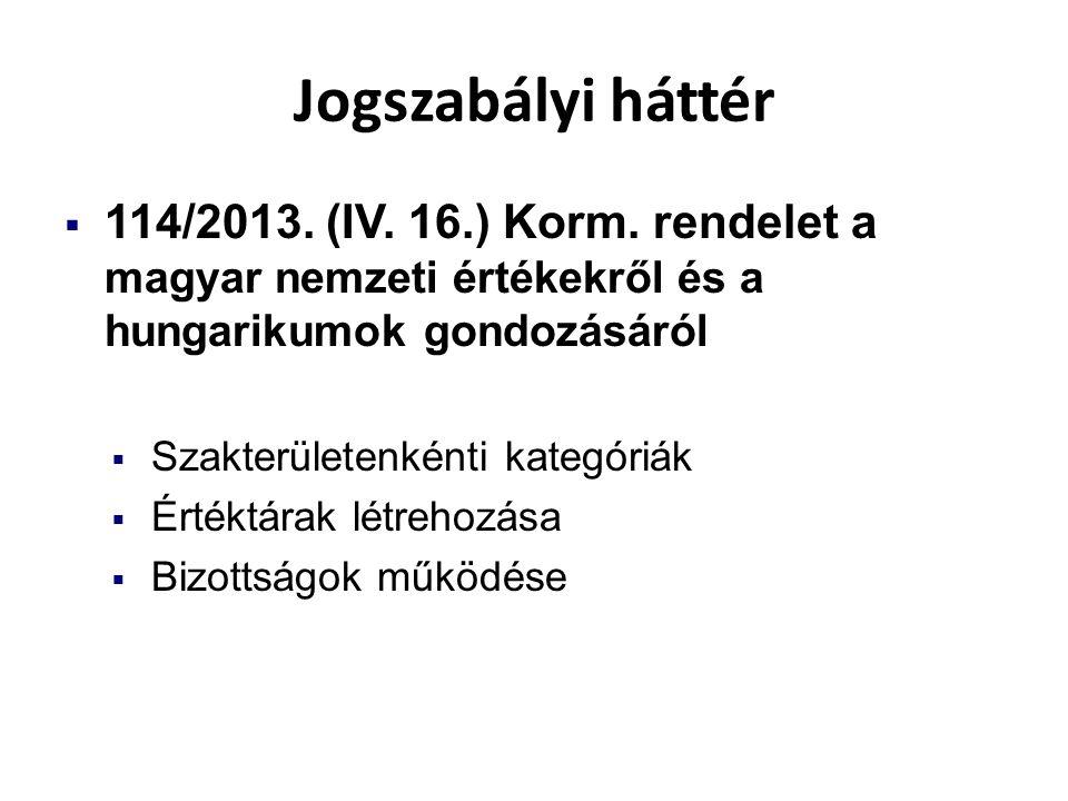 Jogszabályi háttér  114/2013. (IV. 16.) Korm. rendelet a magyar nemzeti értékekről és a hungarikumok gondozásáról  Szakterületenkénti kategóriák  É