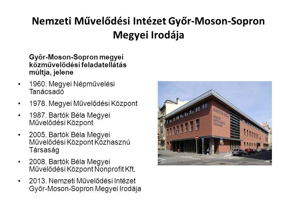 Nemzeti Művelődési Intézet Győr-Moson-Sopron Megyei Irodája Győr-Moson-Sopron megyei közművelődési feladatellátás múltja, jelene 1960.