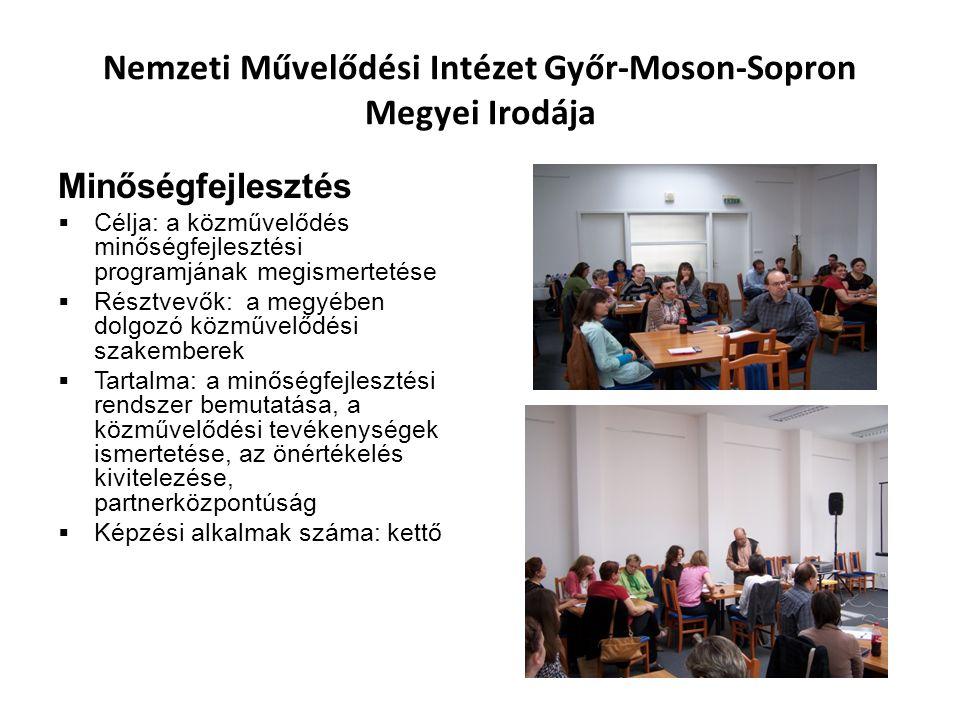 Nemzeti Művelődési Intézet Győr-Moson-Sopron Megyei Irodája Minőségfejlesztés  Célja: a közművelődés minőségfejlesztési programjának megismertetése  Résztvevők: a megyében dolgozó közművelődési szakemberek  Tartalma: a minőségfejlesztési rendszer bemutatása, a közművelődési tevékenységek ismertetése, az önértékelés kivitelezése, partnerközpontúság  Képzési alkalmak száma: kettő